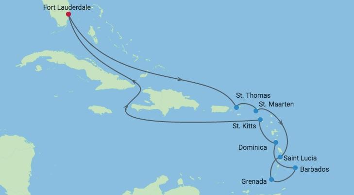GoForCruise-route-CaribischeCruise-december2018