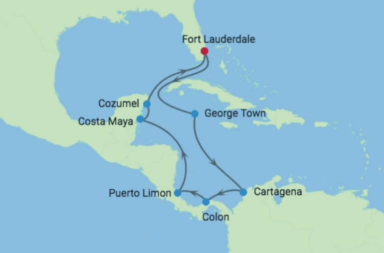 Caribische Celebrity Cruise 2019 Route