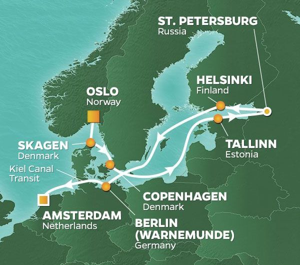Baltische Deluxe Cruise 2021 Route