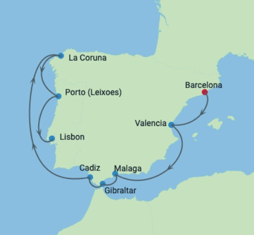 Iberische Celebrity Cruise 2021 Route